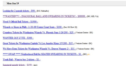 Craigslist Postings of Inauguration Tickets