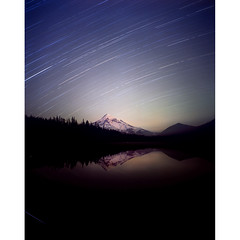 The random and the purpose swinging by overhead (Zeb Andrews) Tags: lake mountains nature night oregon stars landscape outdoors quiet mthood pacificnorthwest nightsky galaxies lostlake startrails pentax6x7 bluemooncamera zebandrews britishadmirals eerilyso zebandrewsphotography