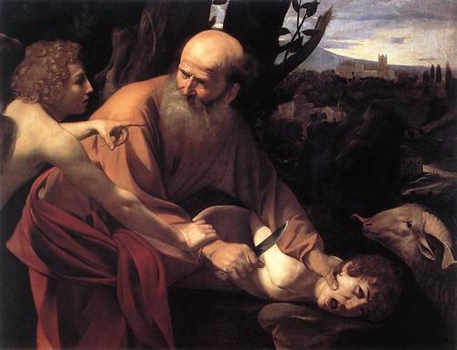 Anjo impede que Abraão sacrifique seu filho por Jeová