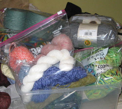 Putting my yarn into bags