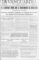 La Vanguardia. Edición del 25 de Enero de 1939