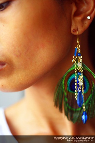 Peacock Earrings on Sasha