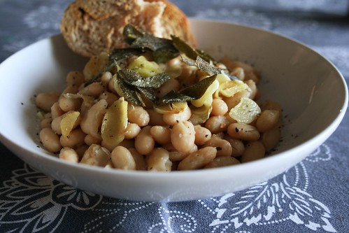 tuscan beans with crispy sage and garlic