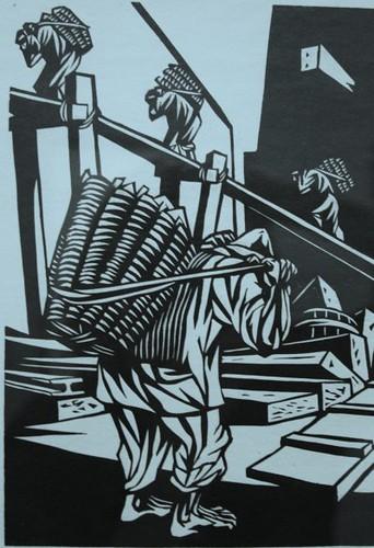 worker woodcut