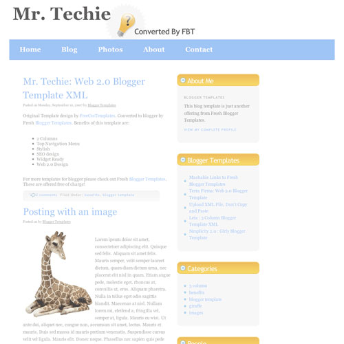10 template blogger keren gratis - Mr. Techie