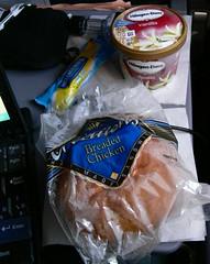 Continental Airlines Mid-Flight Snack (Danburg Murmur) Tags: geotagged newspaper bottle keyboard napkin icecream snack tray mayonnaise continentalairlines hagendazs chickensandwich boeing777 n78008 boeing777224er hagendazsvanillaicecream hellmanns delicreationsbreadedchicken hellmannslightmayonnaise jimbeamblacklabel geo:lat=58890517 geo:lon=1612378