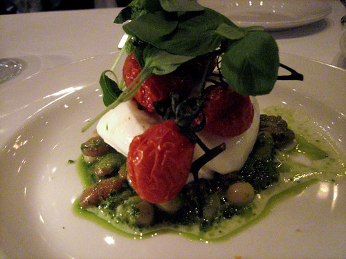 Bufala Mozzarella Beans, Pesto, and Roasted Tomatoes