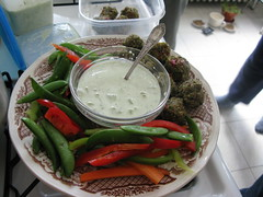 gloria made raw falafel and tahini sauce!!!