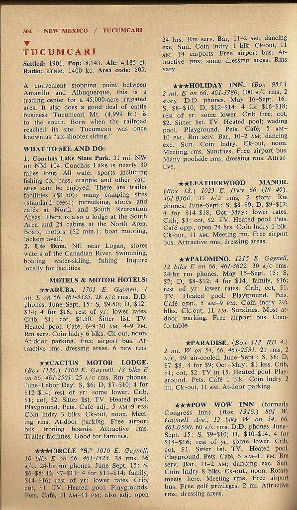 '66 Tucumcari listings, 1