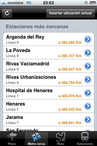 Captura de una aplicación del iPhone que muestra las estaciones del Metro de Madrid más cercanas a tu localización