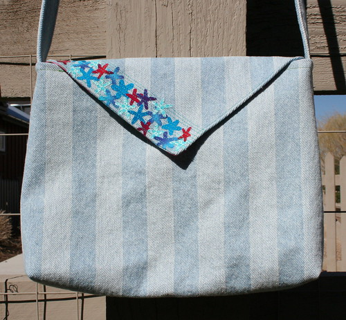Denim envelope bag