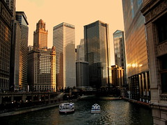 Sunset, Chicago-style (Kurlylox1) Tags: windows light sunset sun chicago skyline architecture river boats golden colorful glow skyscrapers lit bulidings riverwalk supershot