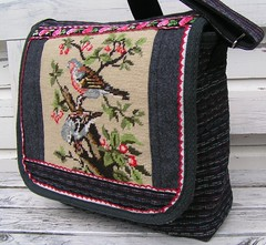 messenger bag, vintage embroidery