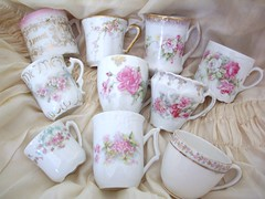 collection of demitasse cups (skblanks) Tags: china pink blue white rose vintage ruffles gold lace antique cottage cream cups romantic chic limoges shabby demitasse ecru