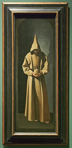 "Oil painting, ""St. Francis Contemplating a Skull"", by Francisco de Zurbarán, Spanish, ca. 1635, at the Saint Louis Art Museum, in Saint Louis, Missouri, USA"