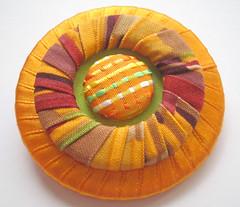 Textile Brooch - Autumn (*akka design*) Tags: autumn orange handmade brooch craft wrapped textile fabric etsy saffron satinribbon cottonfabric coveredbutton textilejewelry textilejewellery