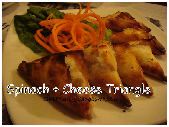 The Spotted Cow: Home-made Spinach and Cheese Triangles