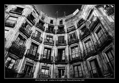 Window to the neighbors (semi-HDR + B&W) (scar Garriga) Tags: barcelona street windows bw building calle spain sony edificio catalonia ventanas photowalk catalunya alpha neighbors hdr carrer pis vecinos edifici piso finestres a700 milans vens sortidazz wdesigncontest