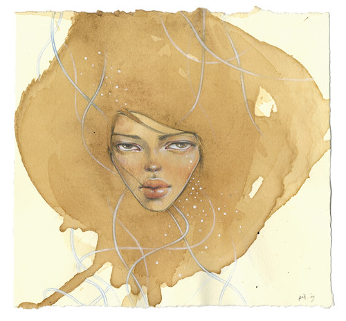"Tell Me Lies. 7""x6.75"". Mixed Media (Ink, Graphite, Colored Pencil, Acrylic & Watercolor) on Tea-stained Paper. ©2009."