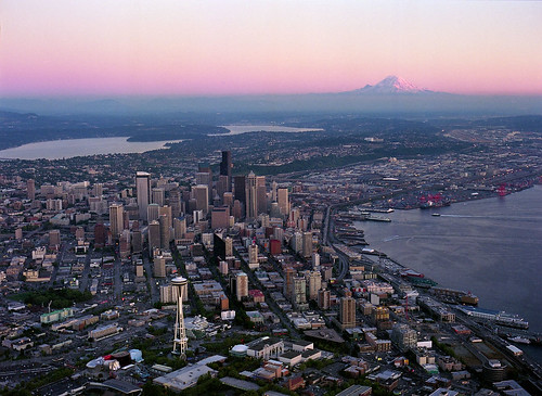 Aerial of downtown and Mount Rainier at sunset, 2000