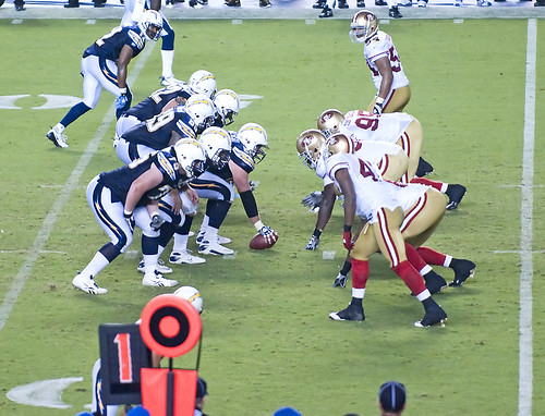 Chargers and 49ers at the line of scrimmage