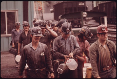 Miners Line Up to Go Into the Elevator Shaft at the Virginia-Pocahontas Coal Company Mine #4 near Richlands, Virginia 04/1974