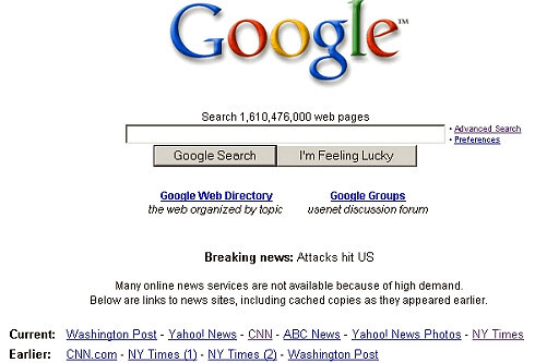google home page on 9-11