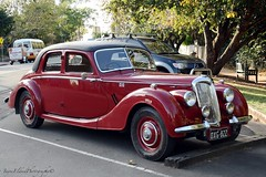 "Handsome (Jayred: ""Photography puts more life into life."" me) Tags: road trees red black green cars sunshine fence silver coast vintagecar seat wheels australia chrome qld trunk footpath tyres hinterlands montvillestreet"