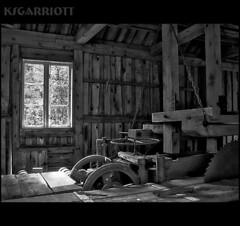 Abandoned Sawmill HDR1-B&W (KSGarriott) Tags: wood old bw white black mill abandoned norway canon norge saw rust natural antique decay rustic machine forgotten age weathered blade hdr sawmill hdri tonemap artizen canonpowershots3is ksgarriott scottgarriott