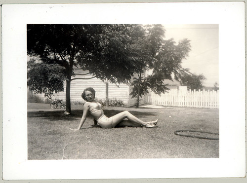 Mom in the back yard