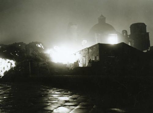 Mount Vesuvius: Lava flows into village of San Sebastiano al Vesuvio one night, 1944
