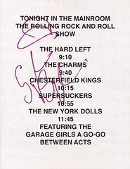 11/14/06 New York Dolls/Supersuckers/The Charms/Chesterfield Kings @ Minneapolis, MN (Schedule Autographed by Sylvain Sylvain)