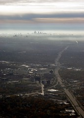 The road to town... (Kc Jacoby Photography LLC) Tags: city sky skyline skyscape airplane landscape highway pentax michigan detroit freeway interstate aerialphotography foggymorning k7 detroitskyline airplanephotos k10d pentaxk10d kcjacoby pentaxk7