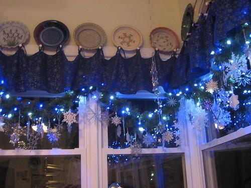 snowflake ornaments on window garland