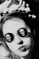 (nicolette clara) Tags: flowers summer portrait blackandwhite girl sunglasses youth skulls frenchie teenage francescajane