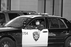 Police, Oakland Riots-5 (Thomas Hawk) Tags: california blackandwhite bw usa america oakland blackwhite riot unitedstates unitedstatesofamerica protest bart police eastbay riots downtownoakland oaklandpd oaklandpolice bartpolice oscargrant oaklandriot oaklandriot2009 oaklandriots2009 oscargrantriots oaklandriots