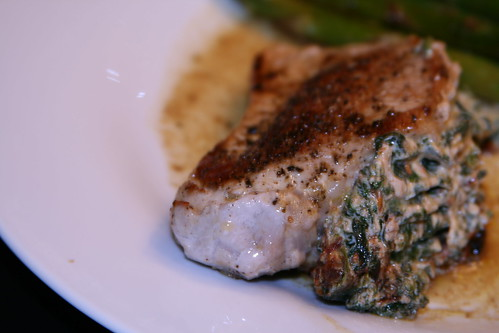Pork Chops Stuffed with Spinach and Sun-Dried Tomatoes