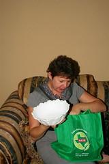 Inge receives Heirloom bowl from Gloria. (johntestsgo) Tags: digitalrebelxti christmas2009