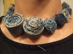 denim roll necklace (misskoco) Tags: art necklace beads handmade competition jewelry jeans denim wearable recycle fiber rolled upcycle thingaday