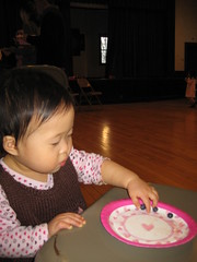 Aki eating blueberries at the Valentine's Day party