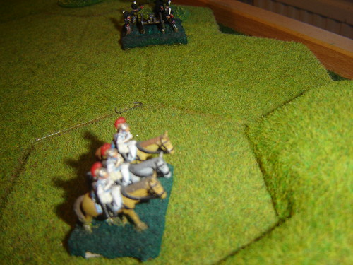 French heavy cavalry complete the charge on the guns despite fearful losses