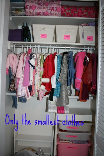 CLOSET WITH ONLY SMALLEST CLOTHES IN IT