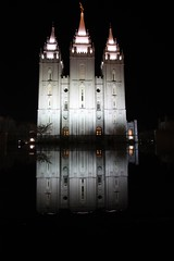 Salt Lake Temple (Frog) Tags: longexposure usa white reflection building art church water statue night america temple lights utah ut time saltlakecity templesquare saltlaketemple canonefs1022mmf3545usm efs1022mmf3545usm canoneos450d