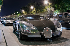 Bugatti Veyron and Mercedes SLR Mansory (Tex Mex (alexandre-besancon.com)) Tags: black paris slr car night marriott grey mercedes duo champs elyses chrome mclaren carbon bugatti supercar matte veyron roadster mansory renovatio