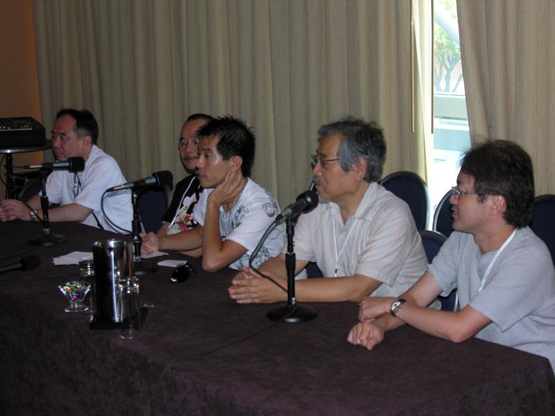 Left to right: Yukio Kikukawa, Masao Maruyama, translator, Noboru Ishiguro, Hidenori Matsubara
