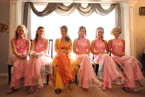 Final girls custom vietnamese ao dai bridesmaid dresses