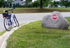 Rock STOP - STOP Rock (FrogBum) Tags: flowers signs bicycle garden michigan detroit stop monarch shelbytwp shelbytownship riverbendspark riverbends shadbushnaturecenter