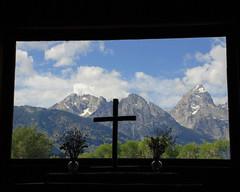 Window over altar at Chapel of the Transfiguration (bettyeich) Tags: mountains tetons nationalparks grandtetonnationalpark