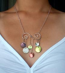 Joydrops - worn (HoneyThistle) Tags: cloud rain necklace shiny handmade shell jewelry swirl gypsy dangle