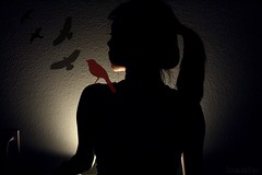 When The Caged Bird Flies (Sarah Ching) Tags: light shadow black bird look birds dark hair fly eyelashes bright maroon side profile sing plug prints ponytail left selling sillhouette pints socket explored sellingprints tumblr